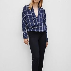 Aritzia Babaton blue plaid silk blouse - Size Med